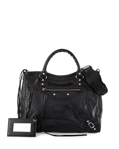 Classic Nickel Velo AJ Leather Bag, Black