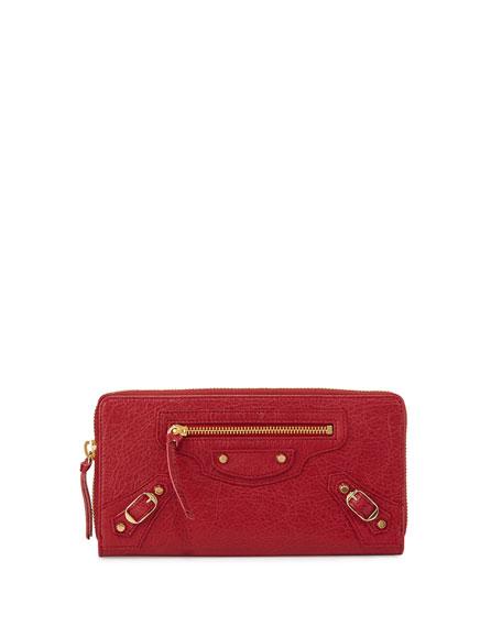 Balenciaga Classic Golden Lambskin Zip Continental Wallet