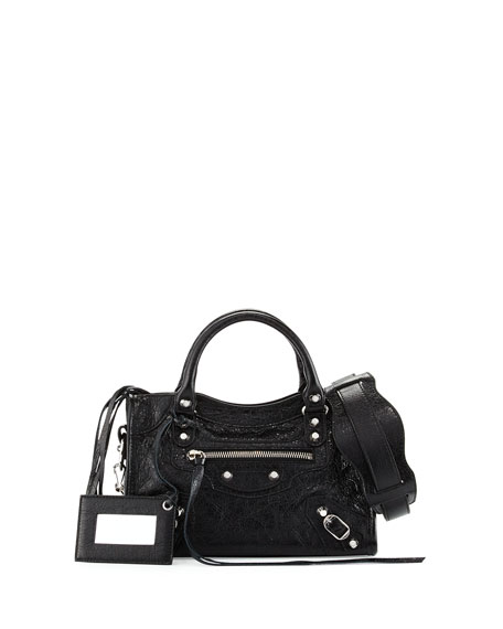 Balenciaga Classic Nickel Mini City AJ Bag, Black