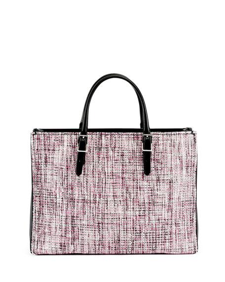 Paper Zip-Around Plate Tweed Tote Bag w/Strap, Rose/Black
