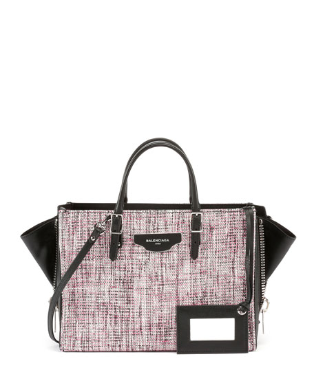 Balenciaga Paper Zip-Around Plate Tweed Tote Bag w/Strap,