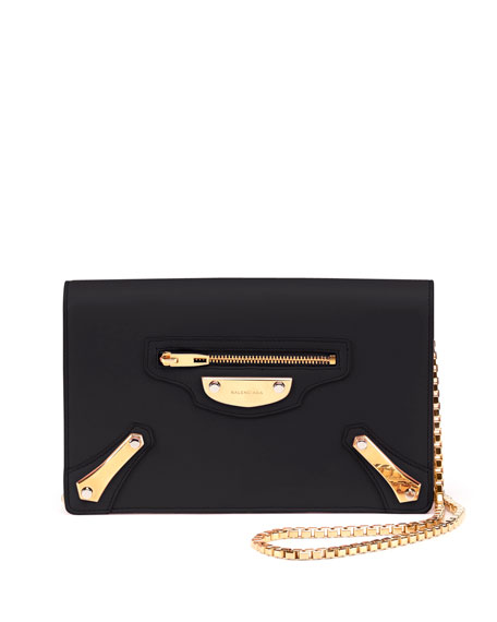 BalenciagaMetal Plate Wallet-on-Chain, Black