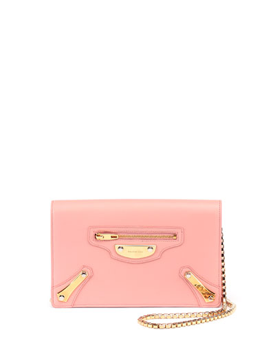 Leather Chain Wallet, Rose