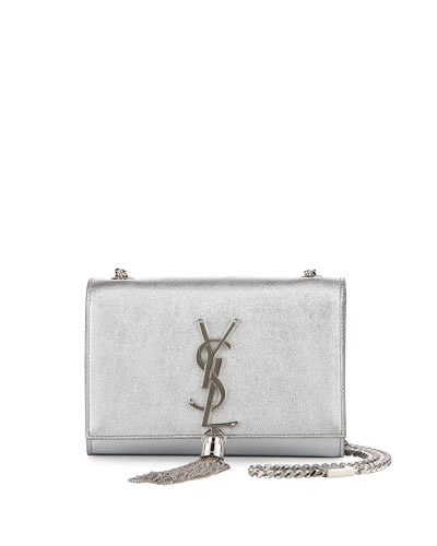 Monogram Metallic Leather Crossbody Bag, Silver