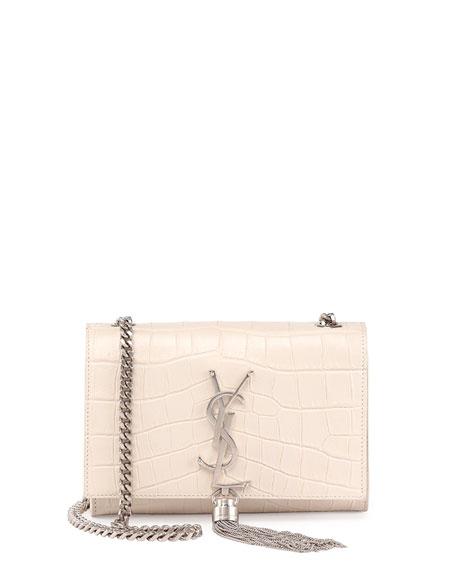 Monogram Small Croc-Stamped Shoulder Bag