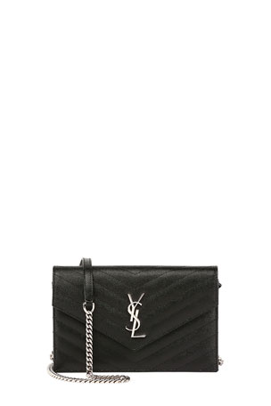 Saint Laurent Grain de Poudre Envelope Wallet on a Chain