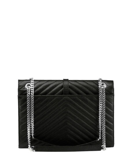 Monogram Matelasse Chain-Strap Shoulder Bag, Black