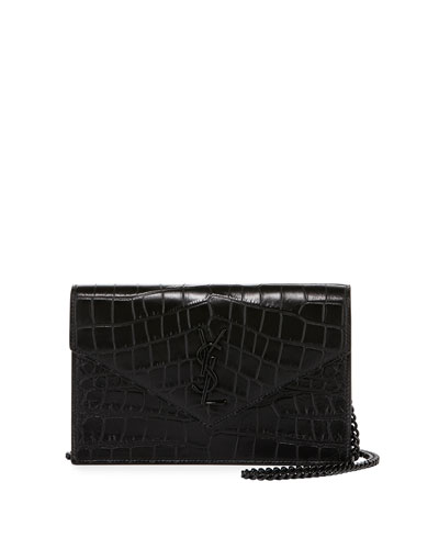 Monogram Croc-Stamped Wallet-on-a-Chain, Black