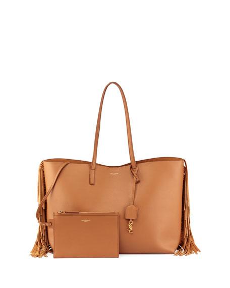 Saint Laurent Large Calfskin Fringe Shopping Tote Bag,