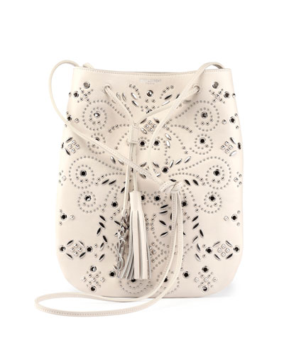 Jen Small Studded Leather Bucket Bag, White