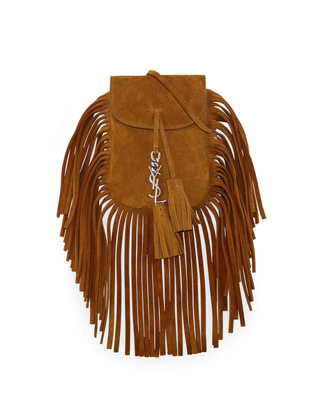 Saint Laurent Anita Mini Flat Shoulder Bag W Fringe Tan