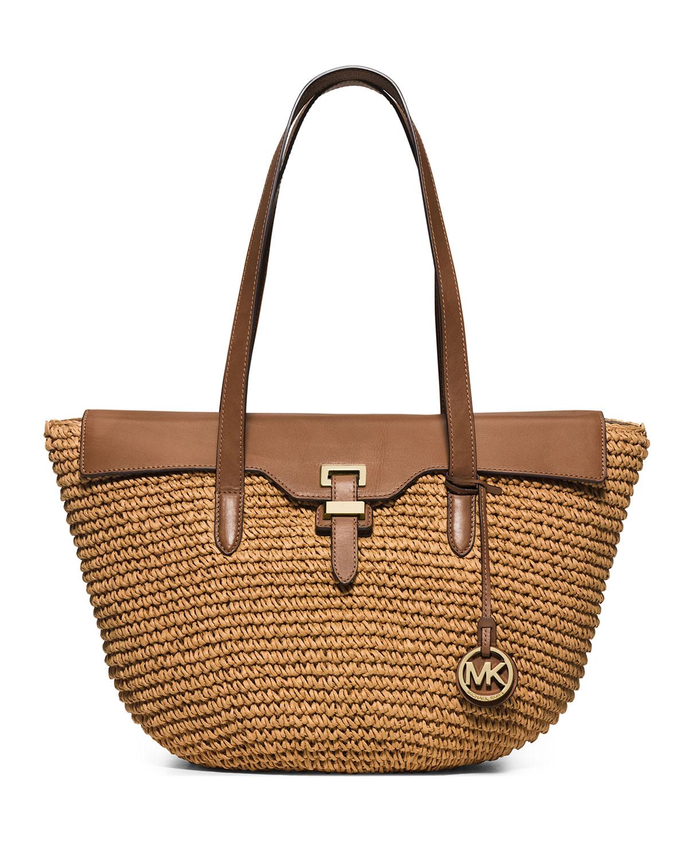272eb737e5dc34 MICHAEL Michael Kors Naomi Large Straw Leather-Trim Tote Bag, Walnut ...