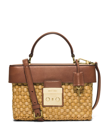Gabriella Medium Straw Satchel Bag, Walnut