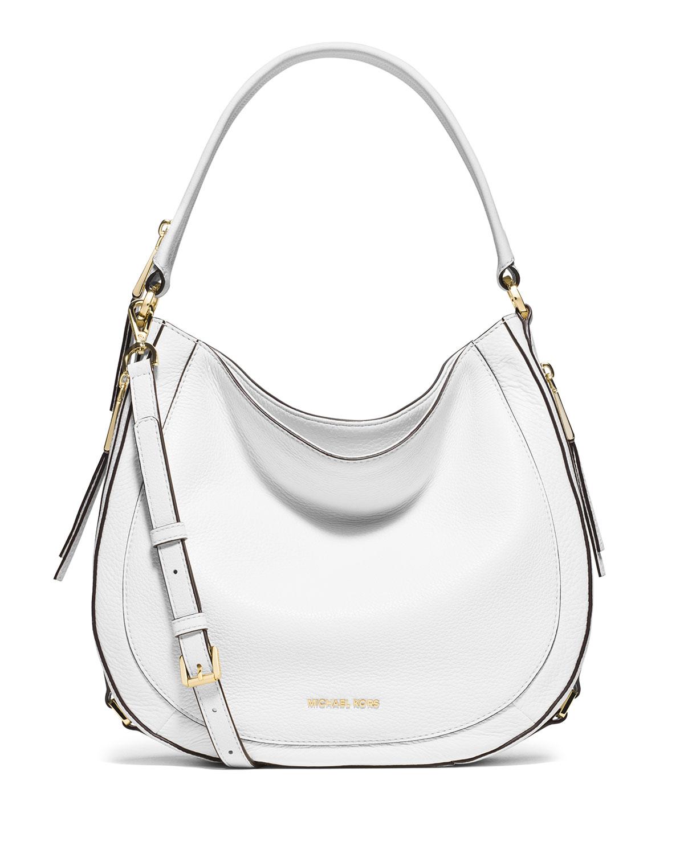 d517965e4e8c MICHAEL Michael Kors Julia Medium Leather Convertible Shoulder Bag, Optic  White