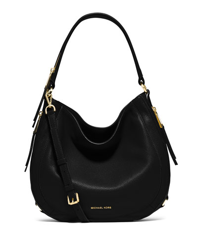 Julia Medium Leather Convertible Shoulder Bag, Black