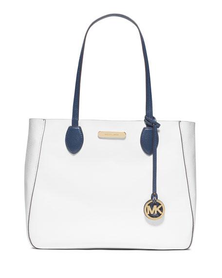 MICHAEL Michael Kors Mae Large Reversible Bicolor Tote Bag, Navy/White
