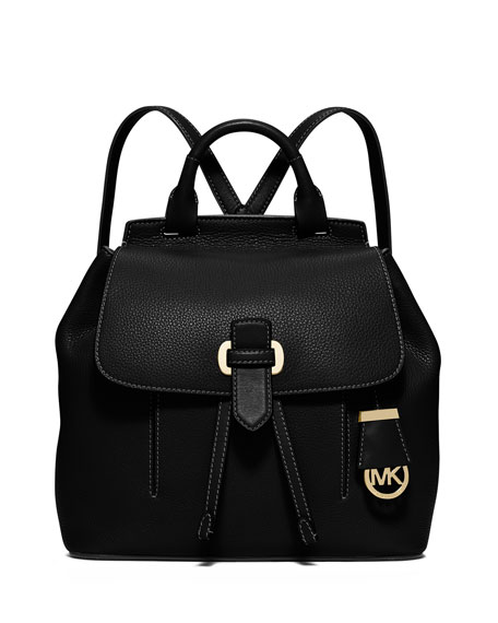 MICHAEL Michael Kors Romey Medium Leather Backpack, Black