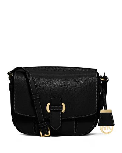 Romey Medium Leather Messenger Bag, Black
