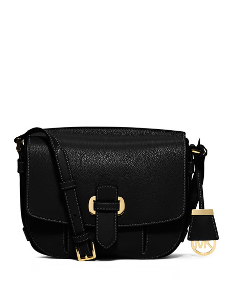 MICHAEL Michael Kors Romey Medium Leather Messenger Bag, Black
