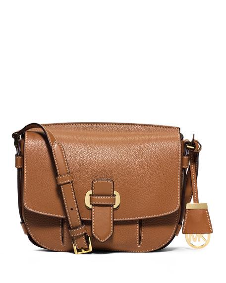 Romey Medium Leather Messenger Bag, Acorn