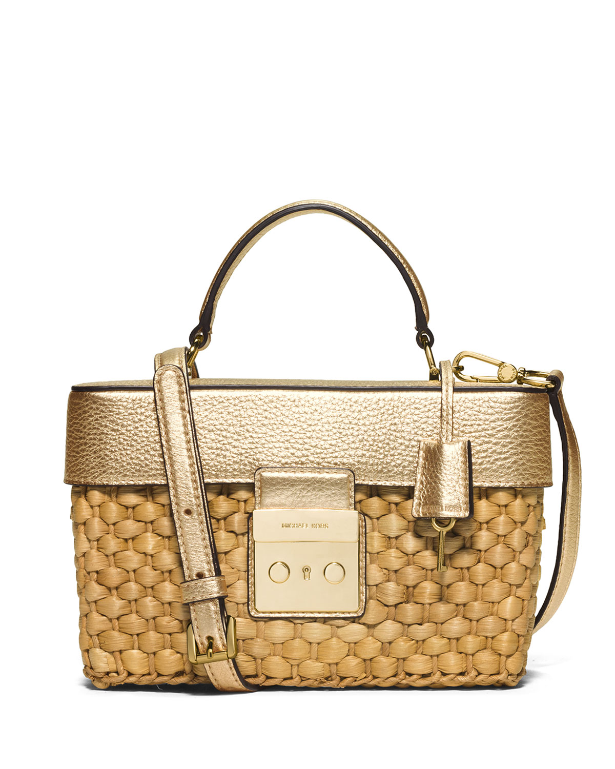 Gabriella Medium Straw Satchel Bag Pale Gold