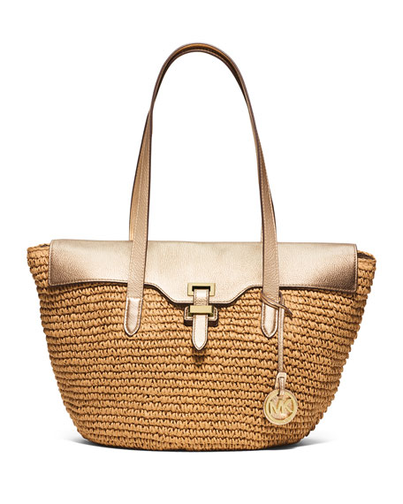 MICHAEL Michael Kors Naomi Large Straw Leather-Trim Tote Bag, Pale Gold