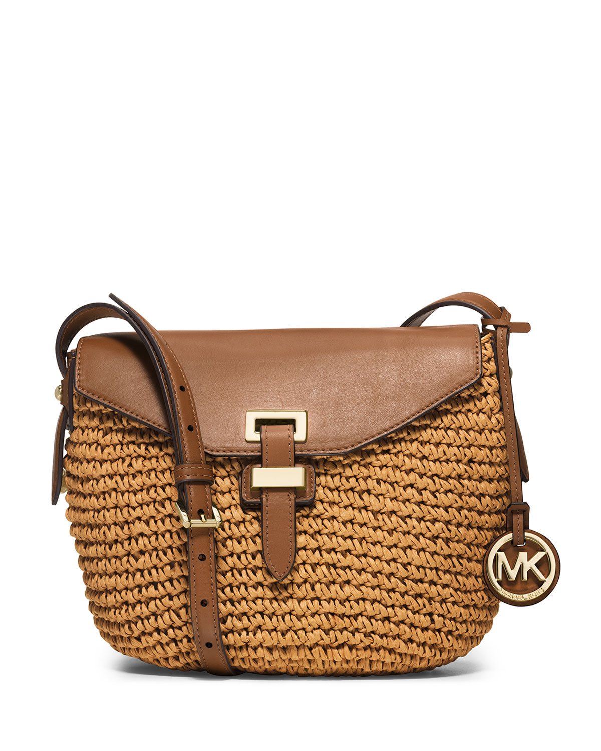 c3102da57c34 MICHAEL Michael Kors Naomi Medium Straw Messenger Bag, Walnut ...