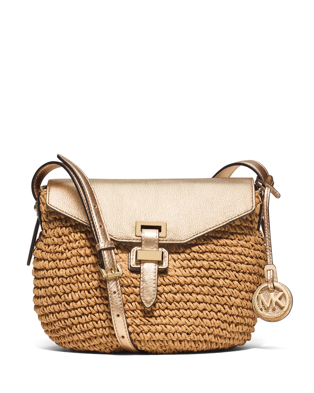 436a3a005a5e MICHAEL Michael Kors Naomi Medium Straw Messenger Bag, Pale Gold ...