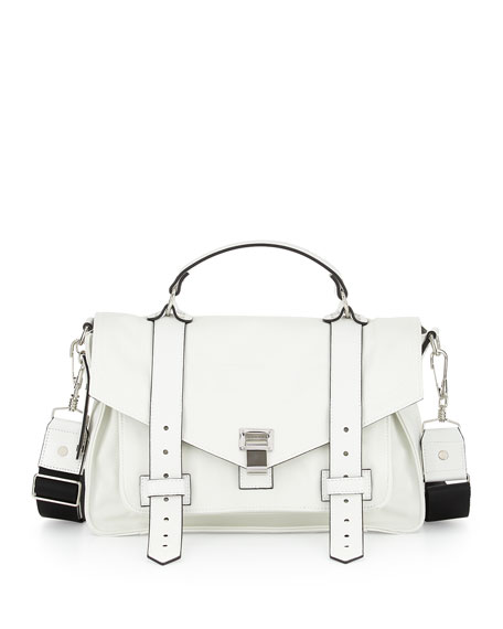 Proenza Schouler PS1 Medium Nylon Mailbag, Optic White