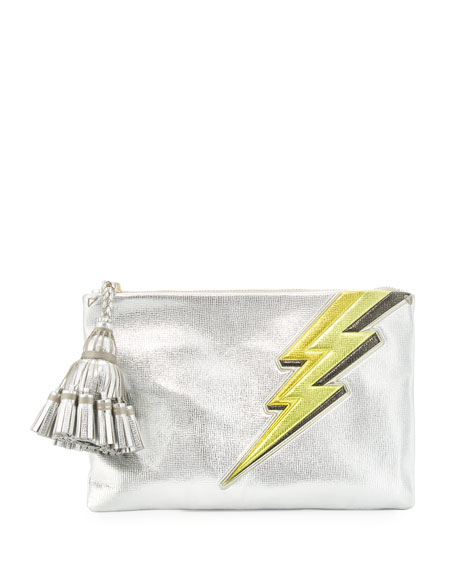Anya Hindmarch Georgiana Lightening Bolt Clutch Bag, Silver