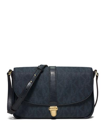 Charlton Large Leather Crossbody Bag, Navy