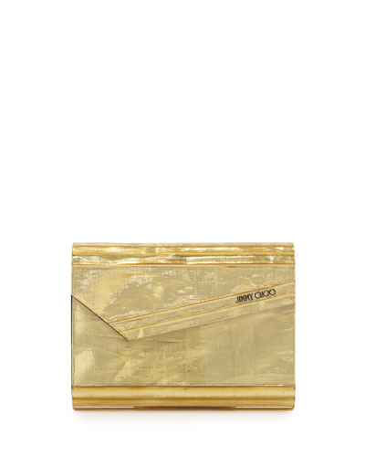 Candy Resin Crinkle Clutch Bag, Gold