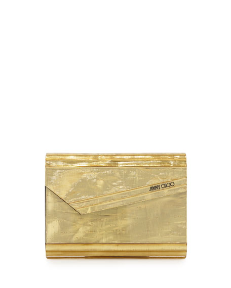 Jimmy Choo Candy Resin Crinkle Clutch Bag, Gold