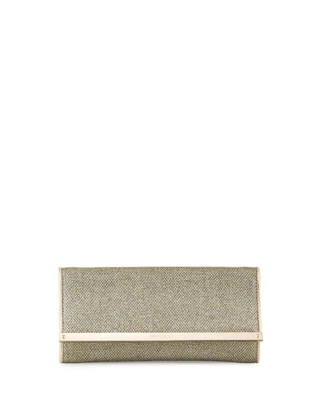 Jimmy ChooMilla Large Glitter Day Clutch Bag, Platinum