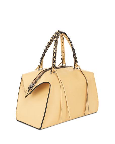 Gabria Medium Colored-Edge Satchel Bag, Blonde/Black Edge
