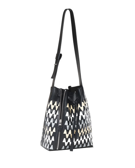 Leo Graphic Woven Medium Bucket Bag, Neutral/Black