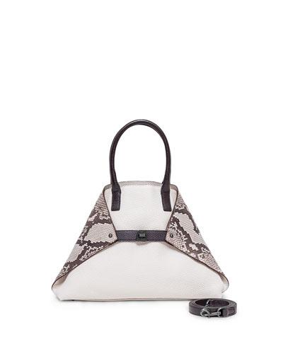 Ai Small Python/Calf Leather Messenger Bag, White/Multi