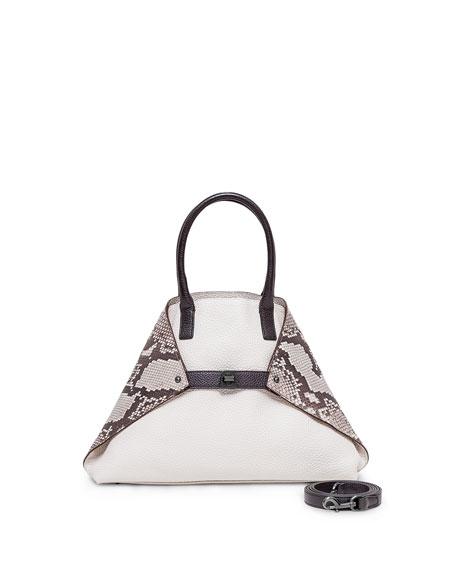 AkrisAi Small Python/Calf Leather Messenger Bag, White/Multi