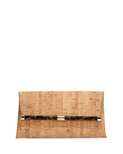 440 Metallic Cork Envelope Clutch Bag, Natural