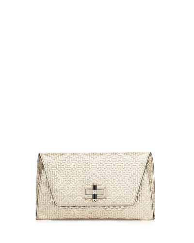 440 Gallery Uptown Basketweave Clutch Bag, Light Gold