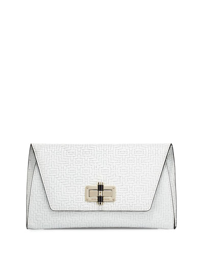 440 Gallery Uptown Basketweave Clutch Bag, Optic White
