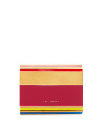 Twilight Resin/Wood Striped Crossbody Clutch Bag, Multicolor