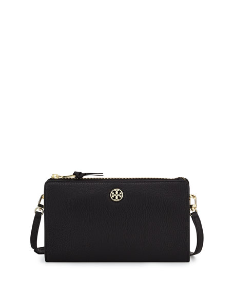 Tory BurchRobinson Wallet on Crossbody Strap, Black