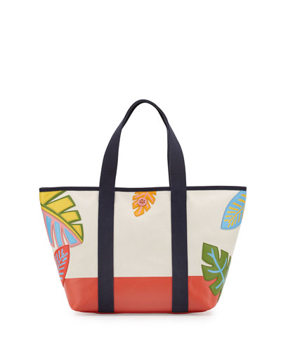 Leaf-Applique Canvas Beach Tote Bag, Natural