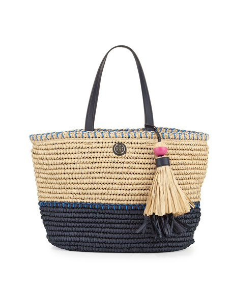 Tory Burch Small Straw Tote Bag, Toast/Tory Navy/Bondi
