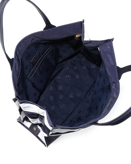 Ella Packable Striped Zip-Top Tote Bag, Navy