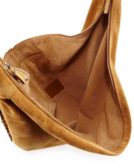 3053de37bacc THE ROW Sling 15 Fringe-Trim Suede Hobo Bag