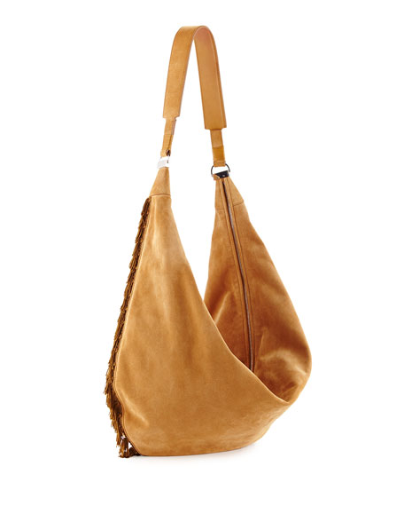 THE ROW Sling 15 Fringe-Trim Suede Hobo Bag,