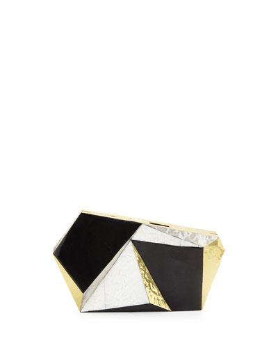 Azura Asymmetric Minaudiere, Black/Golden