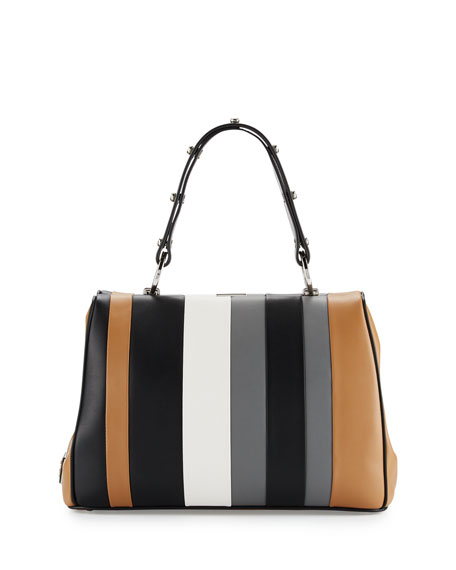 Prada Baiadera Striped Leather Satchel Bag, Camel/Black/Gray